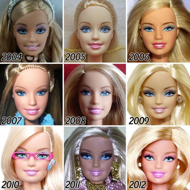 evolução da baebie faces barbie evolution 1959 2015 5 - Evolução da boneca Barbie desde 1959