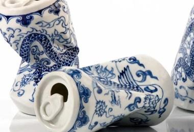 Latas de refrigerante porcelain cans sculptures drinking tea lei xue 5 - Latas de refrigerante esmagadas feitas de porcelana