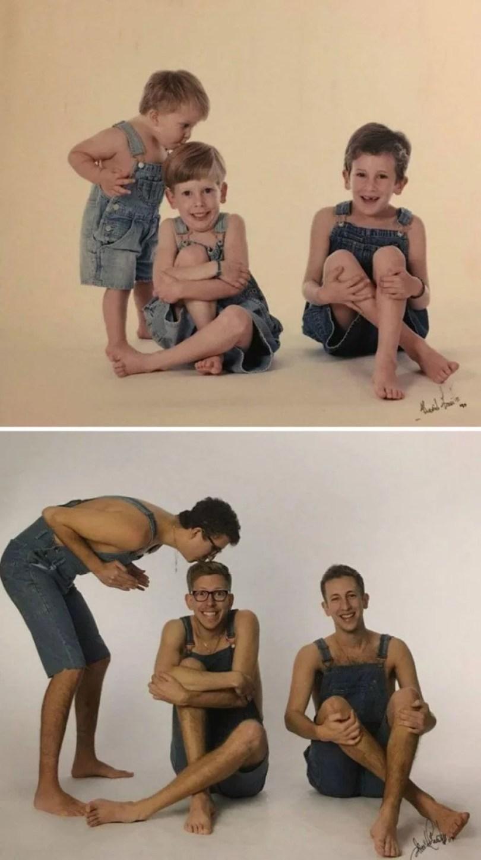 pessoas reproduzem foto antiga 22 - Famílias reproduzem suas fotos antigas com hoje em dia