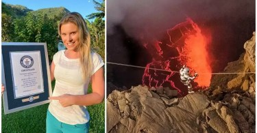 Aventureira brasileira Karina Oliani bate recorde em travessia de lago de lava