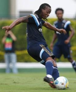 Arouca em seu primeiro treino como titular. Créditos: Cesar Greco/Ag Palmeiras/Divulgação