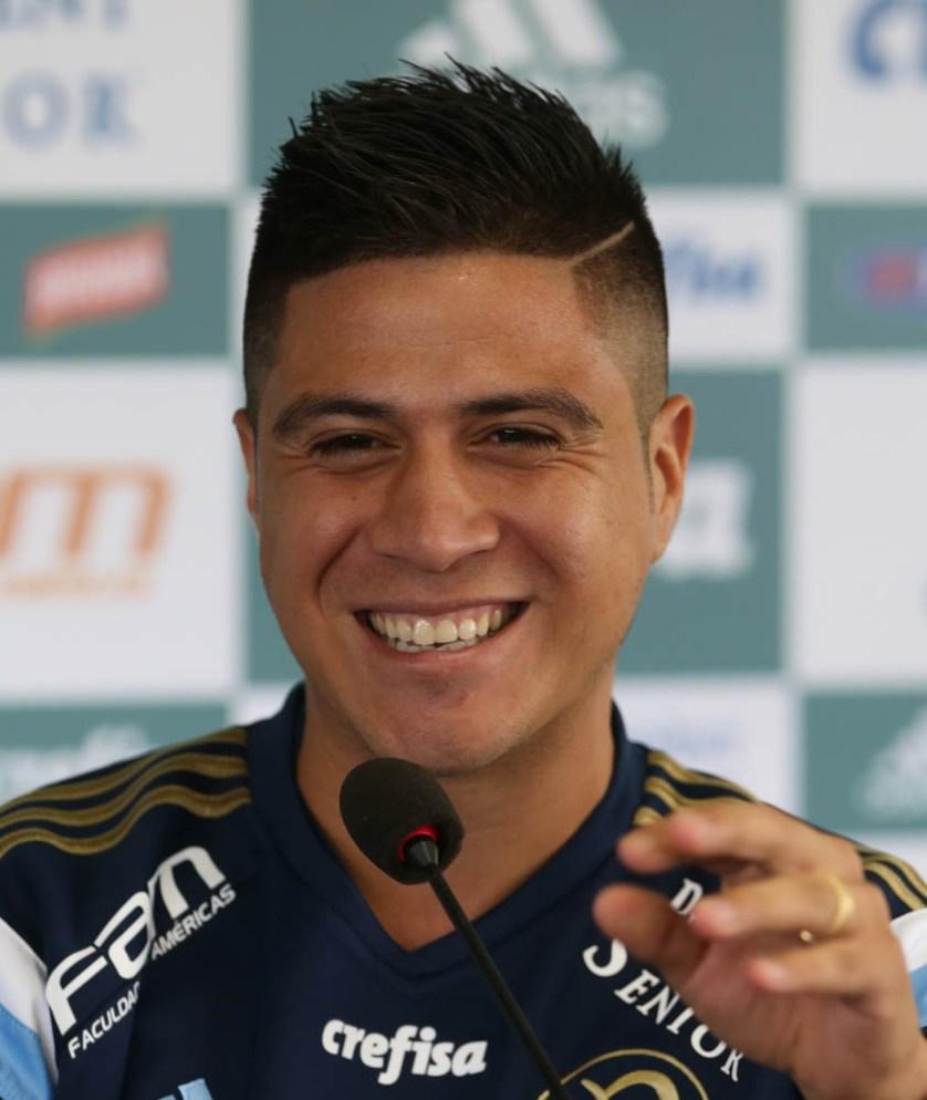 No Verdão desde 2014, o atacante já atuou 34 vezes pelo palestra e tem 8 gols anotados. (Cesar Greco/Ag. Palmeiras/Divulgação)