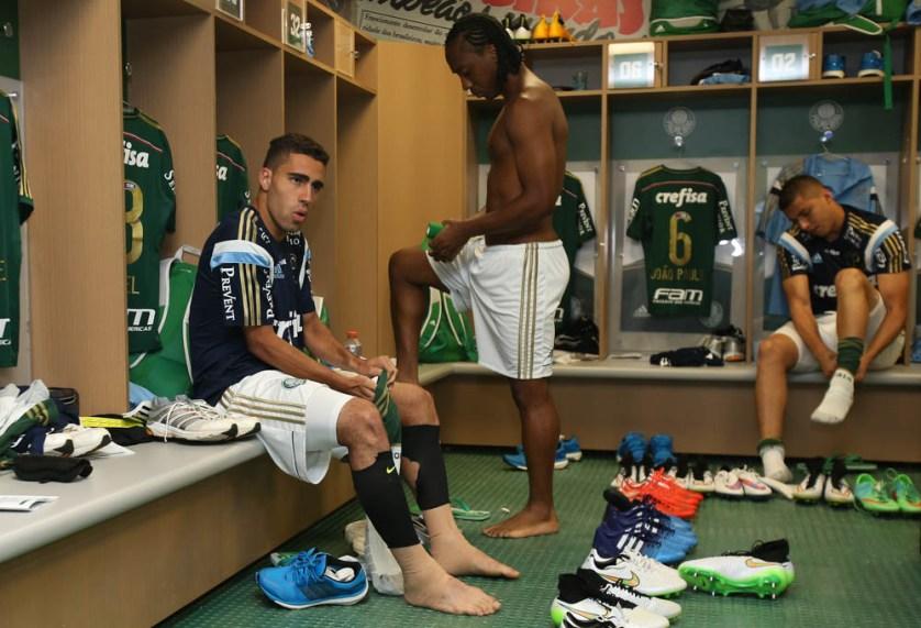 A dupla volantes Gabriel e Arouca, base defensiva do Palmeiras. (Cesar Greco/Ag. Palmeiras/Divulgação)