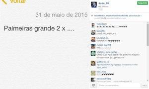Dudu comemora vitória do Palmeiras com imagem em rede social. (Divulgação/Instagram)