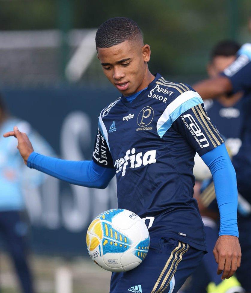Gabriel Jesus atuou na equipe titular nos treinos desta semana. (Cesar Greco/Ag. Palmeiras/Divulgação)