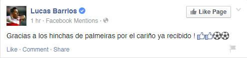 Lucas Barrios agradece carinho da torcida palmeirense. (Reprodução/Facebook)