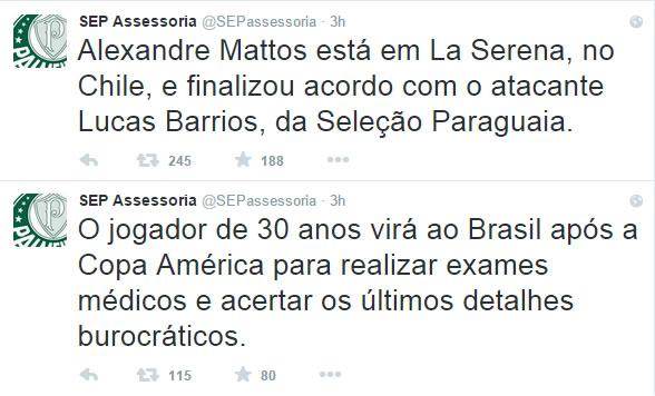 Assessoria de Imprensa do Palmeiras confirmou contratação do atacante, que chega após a Copa América. (Reprodução/Twitter)
