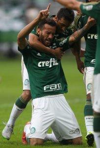 Titular no clássico, Leandro Pereira abriu caminho para a goleada. (Cesar Greco/Ag. Palmeiras/Divulgação)