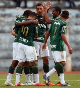 Matheus Sales, Nathan e Carlos Vinicius anotaram os gols do Verdão. (Fabio Menotti/Ag. Palmeiras/Divulgação)