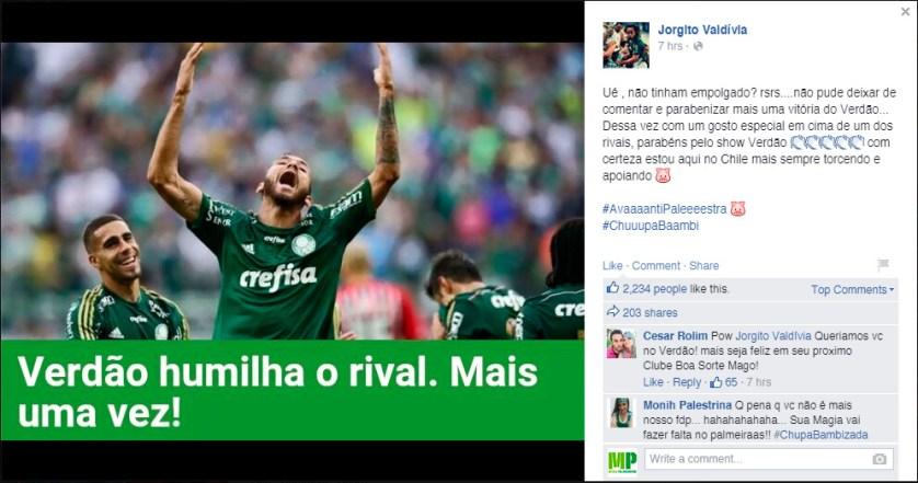 """""""Com certeza estou aqui no Chile mas sempre torcendo e apoiando"""" (Facebook/Reprodução)"""