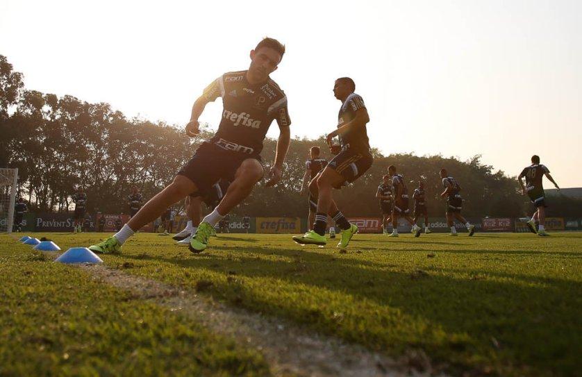 Jogadores deram sequência ao processo de recondicionamento físico. (Cesar Greco/Ag. Palmeiras/Divulgação)