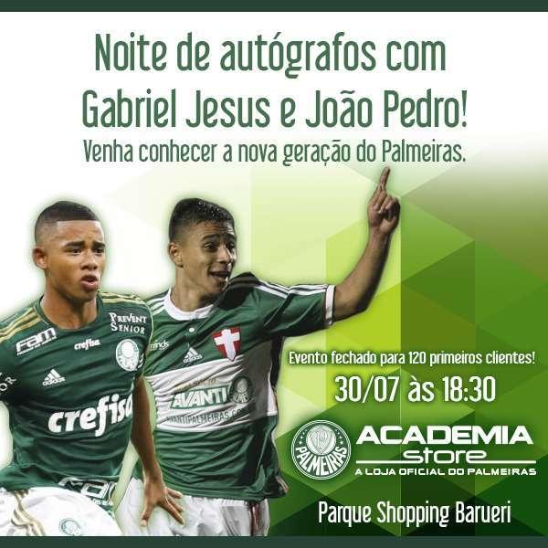 O atacante Gabriel Jesus e o lateral-direito João Pedro participaram de noite de autógrafos. (Divulgação)