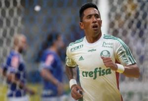 Barrios fez o 1º gol com a camisa do Palmeiras e abriu o marcador em BH. (Créditos: Ag.Palmeiras/César Greco/Divulgação)