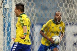 Cristaldo fez o gol de empate após 15 segundos em campo. (César Greco/Ag.Palmeiras/Divulgação)