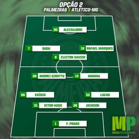 Opção 2: 4-2-3-1 - Com Amaral e Andrei Girotto. Rafael Marques, Cleiton Xavier e Dudu