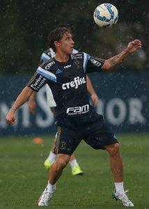 O jovem chileno Arancibia treinou junto ao grupo profissional nesta segunda (7). (Cesar Greco/Ag.Palmeiras/Divulgação)