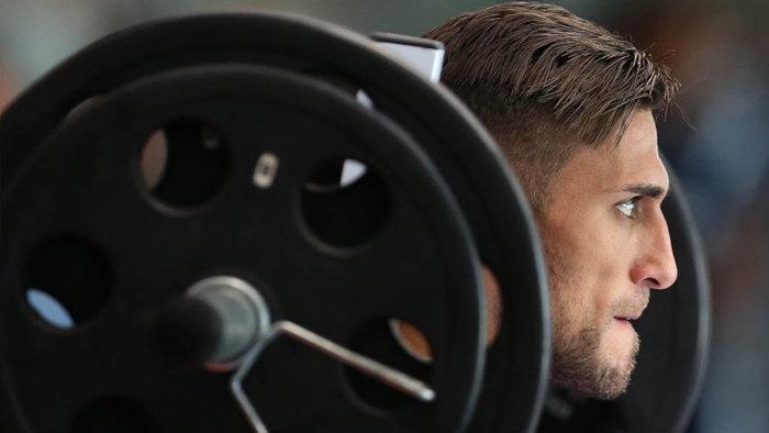 Os jogadores fizeram exercícios na sala de musculação na manhã deste sábado (10). (Cesar Greco/Ag. Palmeiras/Divulgação)