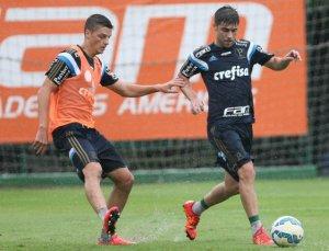 Fellype Gabriel, recuperado de dores nas costas. participou normalmente do treino. (Cesar Greco/Ag. Palmeiras/Divulgação)