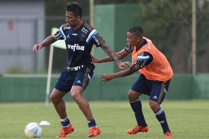 O atacante Lucas Barrios treinou normalmente nesta terça-feira (26). (Cesar Greco/Ag. Palmeiras/Divulgação)