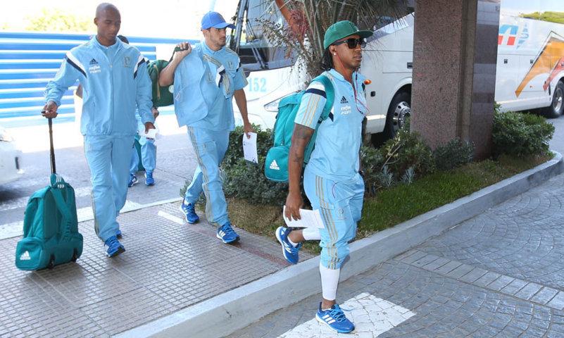 O Palmeiras desembarcou no início da tarde desta terça-feira (19) em Montevidéu, capital do Uruguai. (Cesar Greco/Ag. Palmeiras/Divulgação)