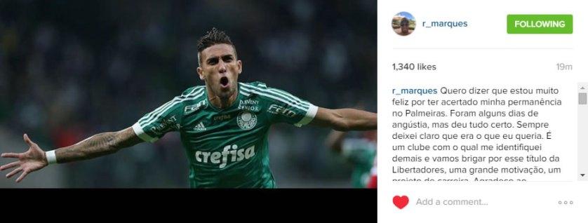 Rafael Marques comemorou sua renovação com o Palmeiras por mais 2 anos. (Reprodução/Instagram/@r_marques)