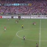 Escudo, nome e mascote do América-MG em evidência na partida do Atlético-MG pela Libertadores. (Reprodução/Sportv)