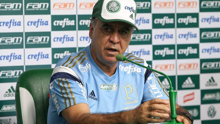 Marcelo Oliveira concedeu entrevista coletiva na Academia de Futebol nesta sexta (26). (Cesar Greco/Ag.Palmeiras/Divulgação)