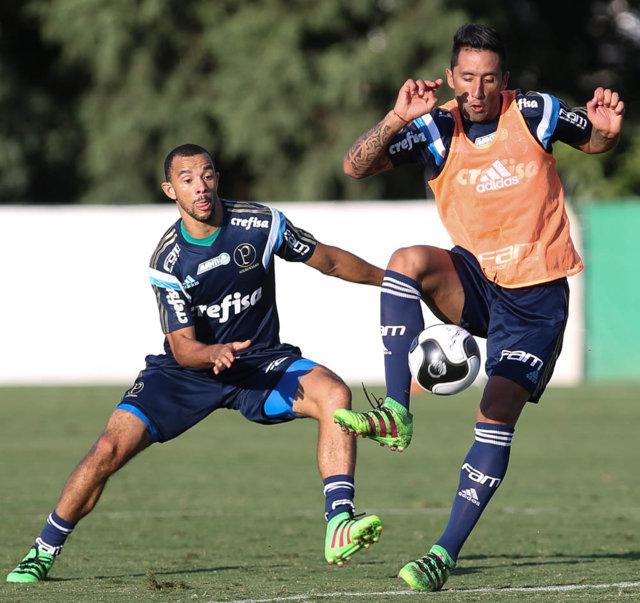 O atacante Lucas Barrios voltou a treinar com a equipe nesta quarta-feira (30). (Cesar Greco/Ag.Palmeiras/Divulgação)