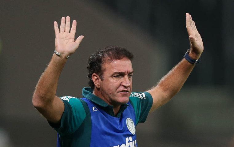 Cuca elogiou a determinação de seus jogadores no duelo com o River Plate-URU. (Cesar Greco/Ag.Palmeiras/Divulgação)