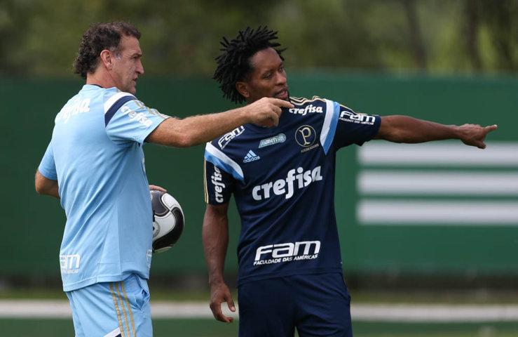Zé Roberto treinou nesta sexta (22) como meia. (Cesar Greco/Ag.Palmeiras/Divulgação)