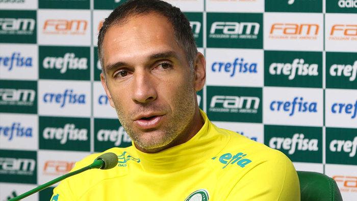 O goleiro Fernando Prass concedeu entrevista coletiva na Academia de Futebol nesta quarta-feira (18). (Cesar Greco/Ag Palmeiras/Divulgação)