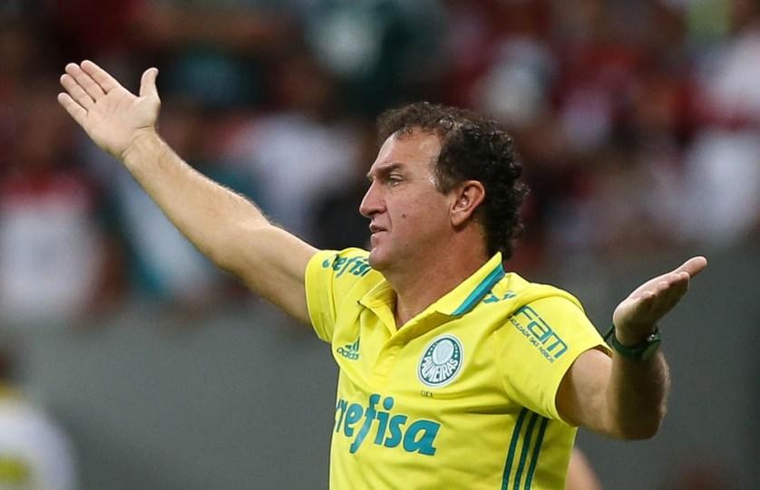O técnico Cuca não escondeu a sua satisfação pelo triunfo fora da capital paulista. (Cesar Greco/Ag Palmeiras/Divulgação)