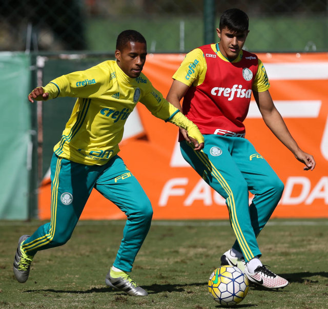 Reservas foram ao gramado por quase duas horas. (Cesar Greco/Ag.Palmeiras/Divulgação)