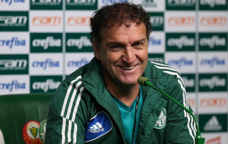 Após o treino desta sexta-feira (29), o técnico Cuca concedeu entrevista coletiva na Academia de Futebol. (Cesar Greco/Ag Palmeiras/Divulgação)