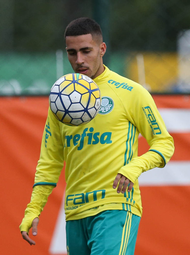 Gabriel treinou normalmente nesta quinta (07). (Cesar Greco/Ag.Palmeiras/Divulgação)
