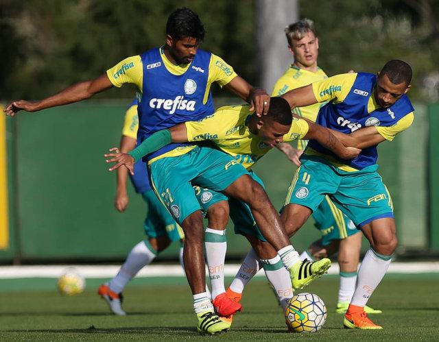 O Verdão fez treino em campo reduzido nesta quinta-feira (14). (Cesar Greco/Ag Palmeiras/Divulgação)