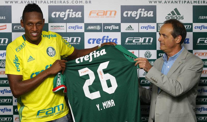 Mina já iniciou os treinos com o elenco palmeirense e foi apresentado oficialmente nesta sexta (01). (Cesar Greco/Ag.Palmeiras/Divulgação)