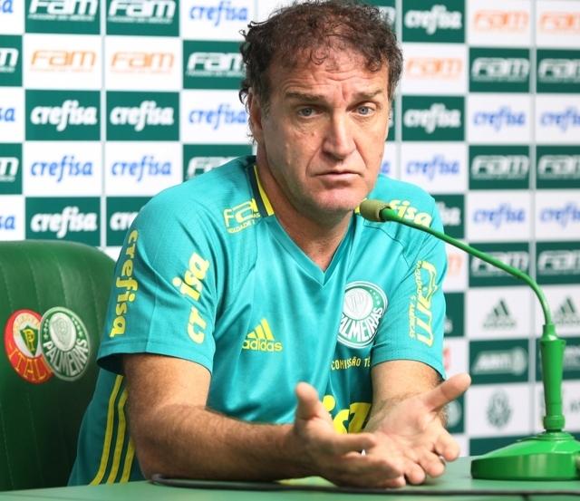 Técnico Cuca concedeu entrevista coletiva nesta segunda (01) na Academia de Futebol. (Cesar Greco/Ag.Palmeiras/Divulgação)