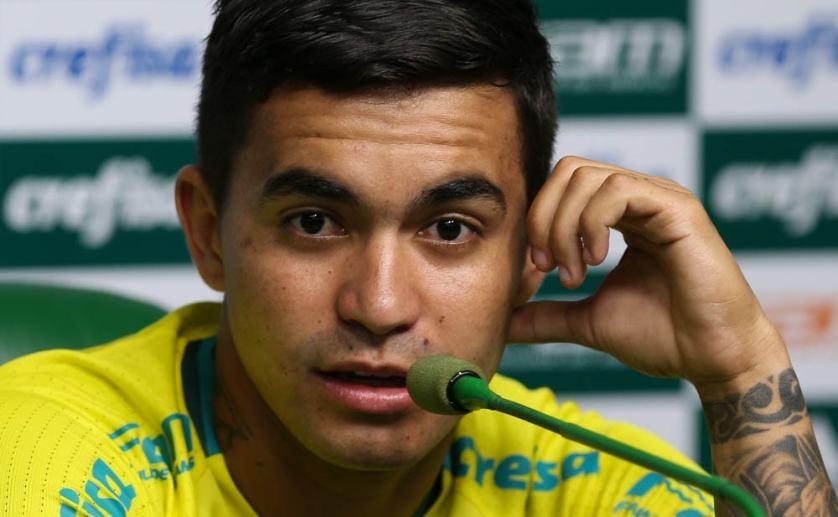 Dudu concedeu coletiva na Academia de Futebol nesta segunda-feira (13). (Cesar Greco/Ag.Palmeiras/Divulgação)