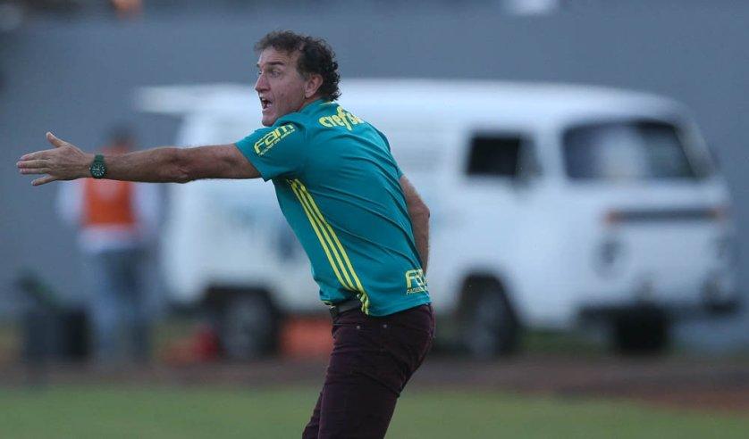 O técnico Cuca ofereceu a vitória aos torcedores palmeirenses que compareceram em bom número no Estádio do Café. (Cesar Greco/Ag Palmeiras/Divulgação)