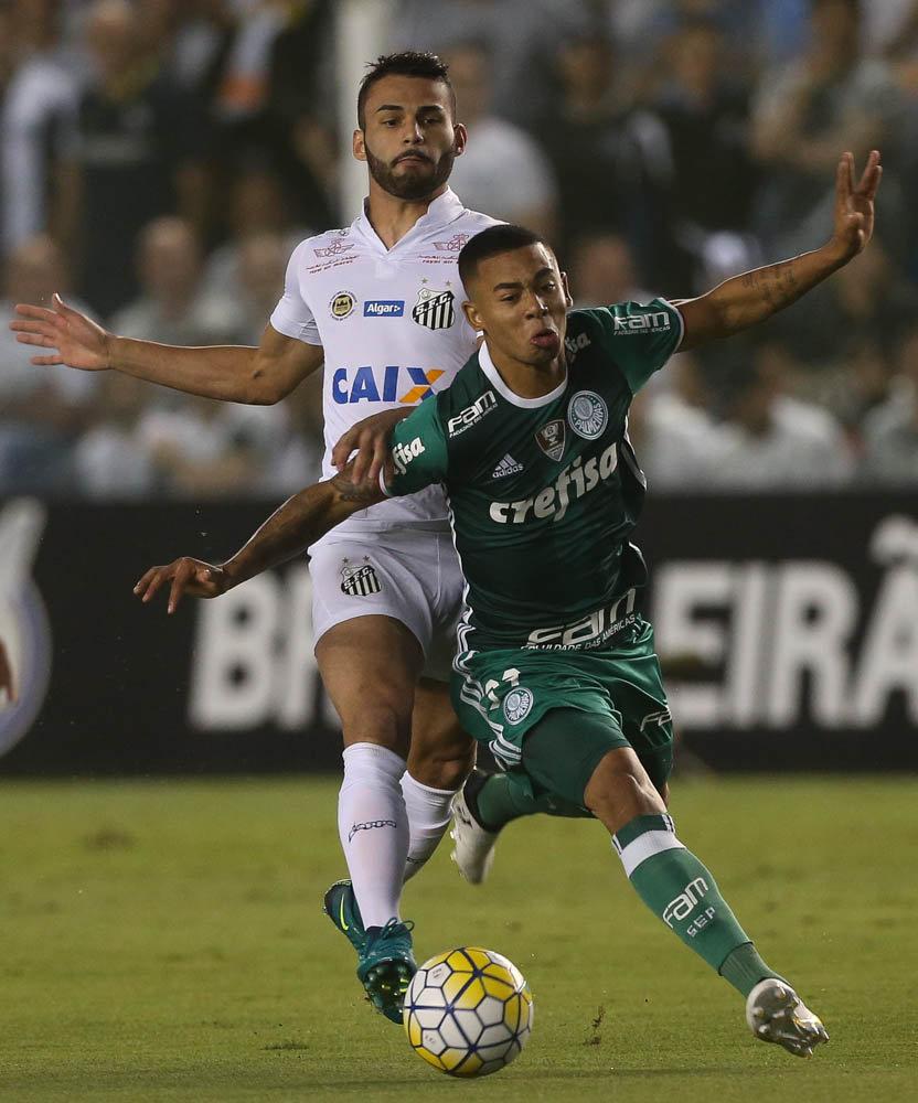 Santos e Palmeiras fizeram jogo pegado na Vila Belmiro. (Cesar Greco/Ag.Palmeiras/Divulgação)