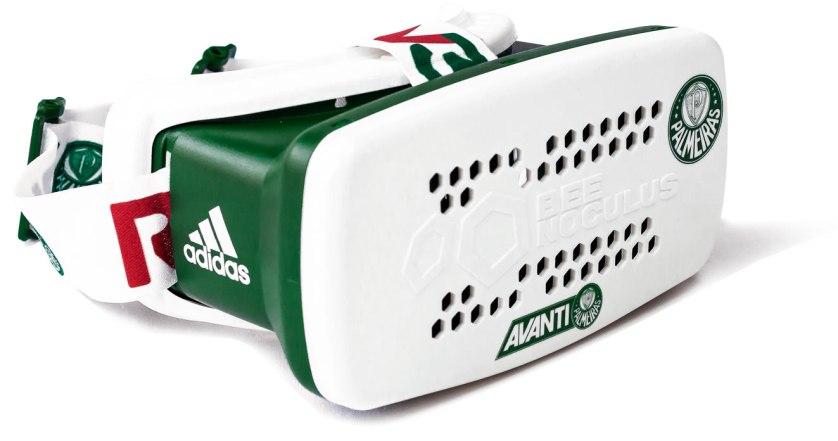 Palmeiras apresenta seu moderno óculos de realidade virtual com imagens em 360 graus. (Divulgação)