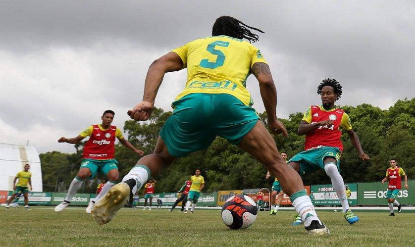 O elenco alviverde treinou em dois períodos nesta quinta-feira (12). (Cesar Greco/Ag Palmeiras/Divulgação)