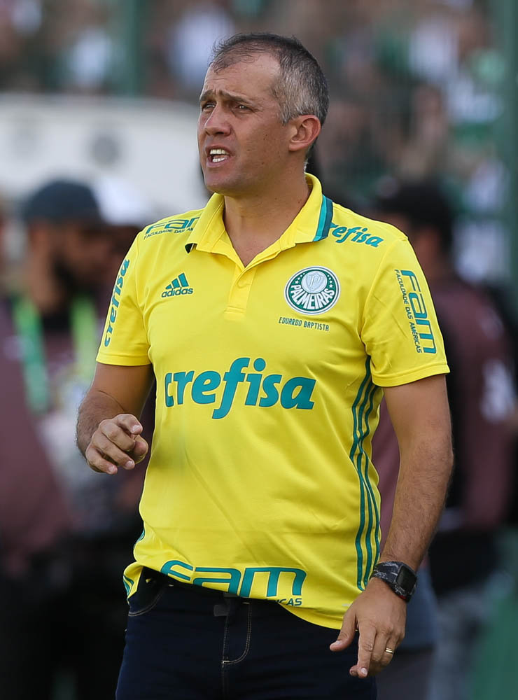 O técnico Eduardo Baptista avaliou o desempenho de seus jogadores no amistoso. (Cesar Greco/Ag Palmeiras/Divulgação)
