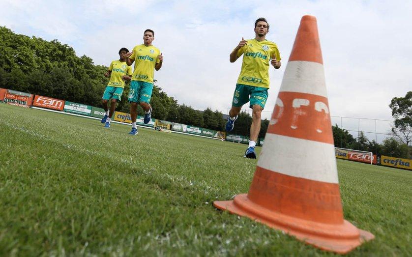 Após avaliações, testes e exercícios físicos. elenco alviverde trabalhou com bola pela primeira vez. (Cesar Greco/Ag.Palmeiras/Divulgação)