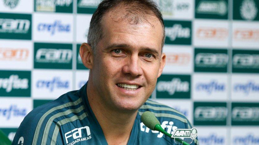 Em coletiva antes do treino, Eduardo Baptista projetou o duelo contra o Novorizontino. (Fabio Menotti/Ag Palmeiras/Divulgação)