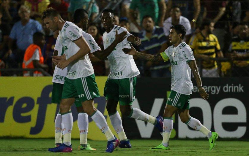 Dudu marcou um dos gols da vitória palestrina em Novo Horizonte. (Cesar Greco/Ag. Palmeiras/Divulgação)