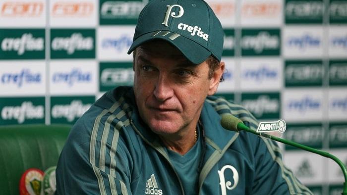 Cuca falou com a imprensa nesta sexta-feira (09), antes do duelo contra o Fluminense. (Cesar Greco/Ag Palmeiras/Divulgação)