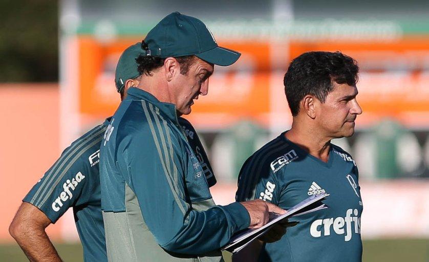 O técnico Cuca comandou uma atividade tática na tarde desta quinta-feira (11), na Academia de Futebol. (Cesar Greco/Ag Palmeiras/Divulgação)