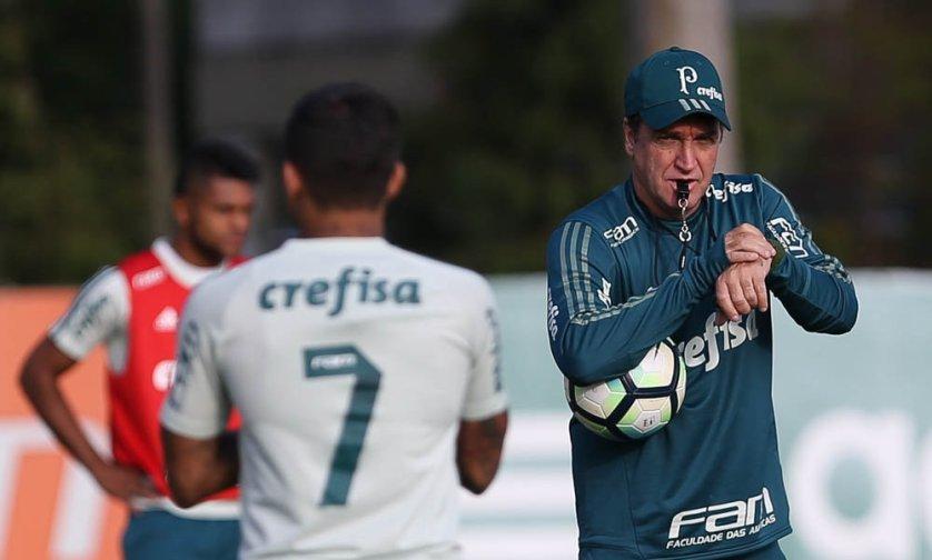 Verdão fez uma atividade tática em preparação ao confronto com o Atlético Tucumán-ARG. (Cesar Greco/Ag Palmeiras/Divulgação)